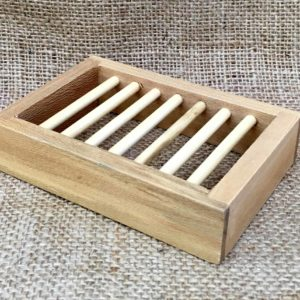 Bamboo slatted soap dish sold by The Maldon Soap Company