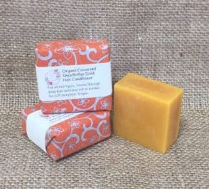 Organic cocoa and shea butter solid hair conditioner from The Maldon Soap Company