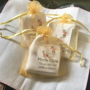 Muslin cloths to use with Maldon Soap's hot cloth cleansers