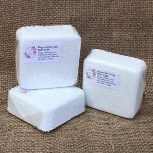Peppermint cream bath bombs from The Maldon Soap Company