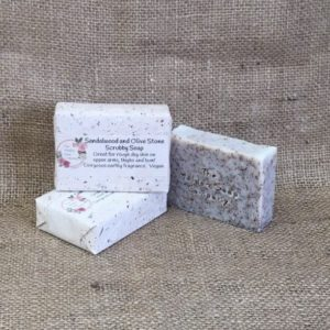 sandalwood and olive stone scrubby soap from The Maldon Soap Company