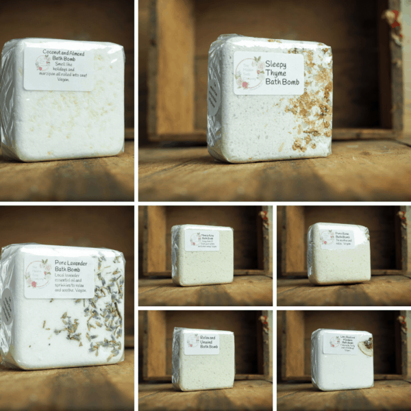 Here are some of the bathbombs in the new range from The Maldon Soap Company